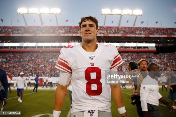 Daniel Jones of the New York Giants reacts after defeating the Tampa Bay Buccaneers 32-31 at Raymond James Stadium on September 22, 2019 in Tampa,...