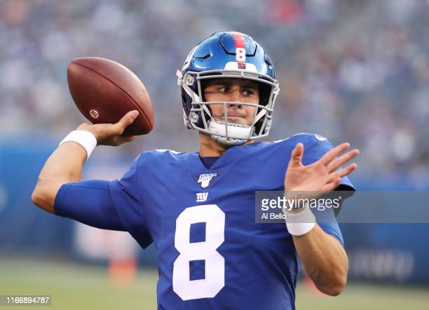 Daniel Jones of the New York Giants throws a warmup pass before the game against the New York Jets during their Pre Season game at MetLife Stadium on...