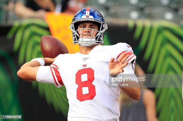Daniel Jones of the New York Giants throws the ball before the game against the Cincinnati Bengals at Paul Brown Stadium on August 22 2019 in...