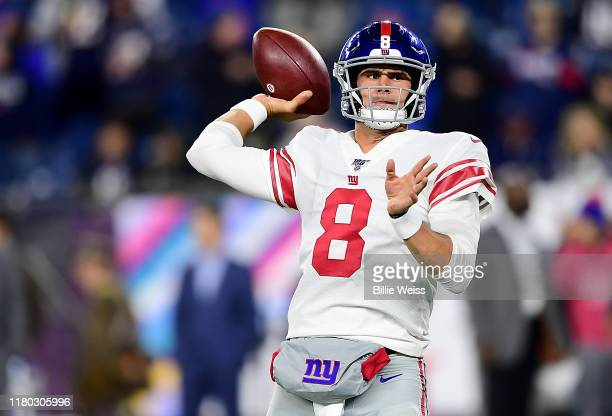 Daniel Jones of the New York Giants warms up prior to the game against the New England Patriots at Gillette Stadium on October 10, 2019 in...