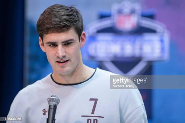 Daniel Jones #QB07 of the Duke Blue Devils is seen at the 2019 NFL Combine at Lucas Oil Stadium on March 1 2019 in Indianapolis Indiana