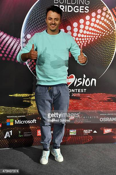 Daniel Kajmakoski who will represent F.Y.R. Mazedonia at '2015 Eurovision Festival' poses during a press meet and greet ahead of the Eurovision Song...
