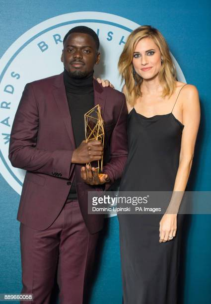 Daniel Kaluuya and Allison Williams with the award for Best International Independent Film for 'Get Out' at The British Independent Film Awards at...