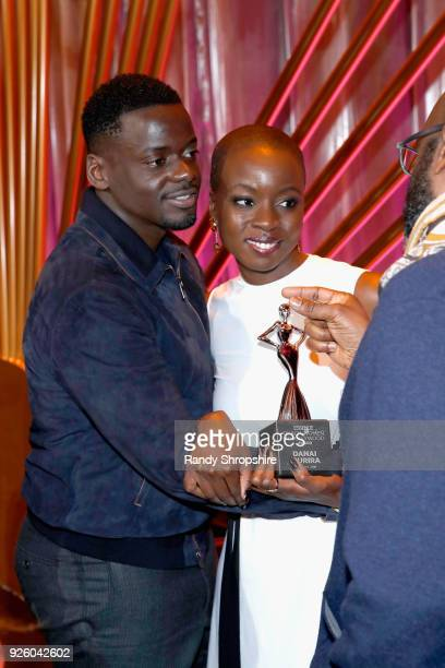 Daniel Kaluuya and Danai Gurira pose onstage during the 2018 Essence Black Women In Hollywood Oscars Luncheon at Regent Beverly Wilshire Hotel on...