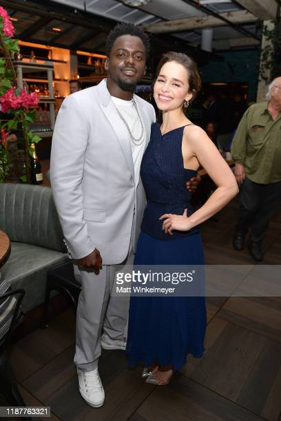 Daniel Kaluuya and Emilia Clarke attend the Hollywood Foreign Press Association and The Hollywood Reporter Celebration of the 2020 Golden Globe...