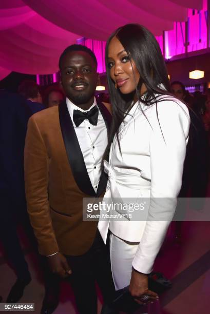 Daniel Kaluuya and Naomi Campbell attend the 2018 Vanity Fair Oscar Party hosted by Radhika Jones at Wallis Annenberg Center for the Performing Arts...
