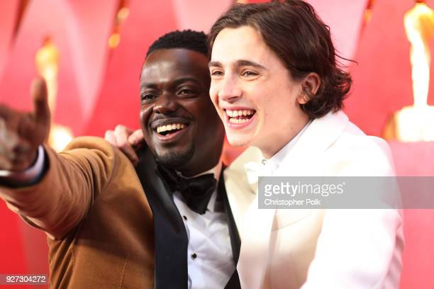 Daniel Kaluuya and Timothee Chalamet attend the 90th Annual Academy Awards at Hollywood Highland Center on March 4 2018 in Hollywood California