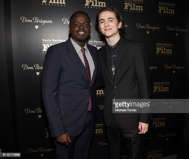 Daniel Kaluuya and Timothee Chalamet visit the Dom Perignon Lounge before receiving the Virtuosos Award at The Santa Barbara International Film...