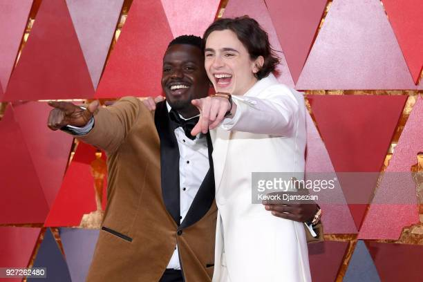 Daniel Kaluuya and Timothee Chalamet wearing JaegerLeCoultre Reverso watch attends the 90th Annual Academy Awards at Hollywood Highland Center on...