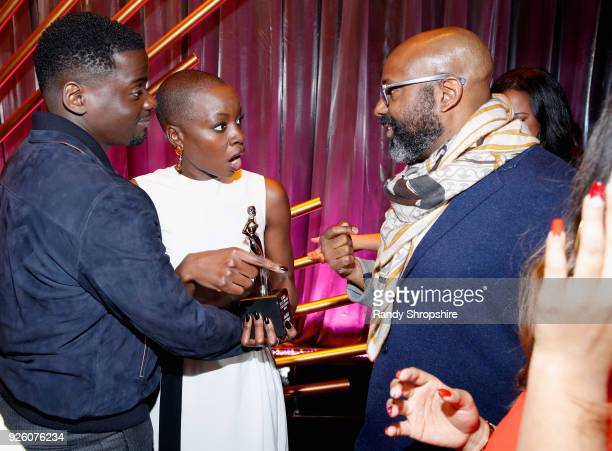 Daniel Kaluuya Danai Gurira and Founder and Chairperson Essence Ventures Richelieu Dennis attend the 2018 Essence Black Women In Hollywood Oscars...