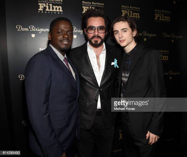 Daniel Kaluuya SBIFF Executive Director Roger Durling and Timothee Chalamet visit the Dom Perignon Lounge at The Santa Barbara International Film...