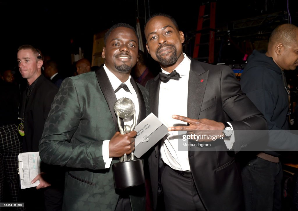 Daniel Kaluuya, winner of Outstanding Actor in a Motion Picture for 'Get Out', and Sterling K. Brown attend the 49th NAACP Image Awards at Pasadena Civic Auditorium on January 15, 2018 in Pasadena, California.
