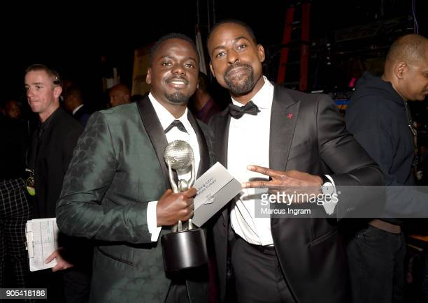 Daniel Kaluuya winner of Outstanding Actor in a Motion Picture for 'Get Out' and Sterling K Brown attend the 49th NAACP Image Awards at Pasadena...
