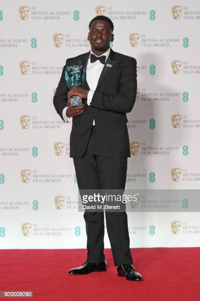 Daniel Kaluuya winner of the Rising Star award poses in the press room during the EE British Academy Film Awards held at Royal Albert Hall on...