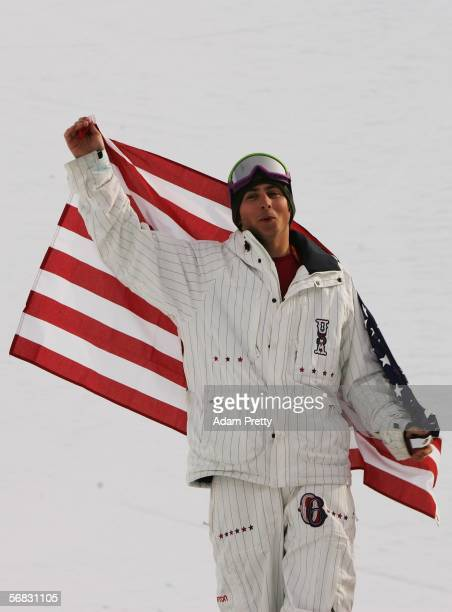 Daniel Kass of the United States celebrates winning the Silver Medal in the Mens Snowboard Half Pipe Final on Day 2 of the 2006 Turin Winter Olympic...