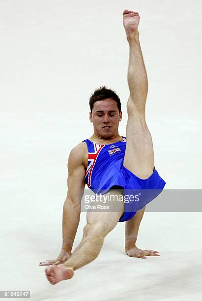 Daniel Keatings of Great Britain competes in the floor exercise during the Artistic Gymnastics World Championships 2009 at O2 Arena on October 13...