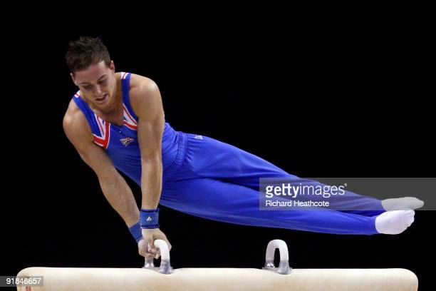 Daniel Keatings of Great Britain competes in the pommel horse event during the Artistic Gymnastics World Championships 2009 at O2 Arena on October 13...