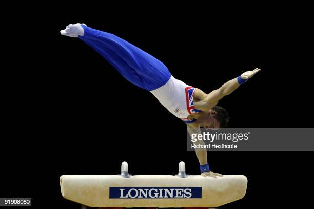 Daniel Keatings of Great Britain competes on the pommel horse during the Men's All Round Final on the third day of the Artistic Gymnastics World...