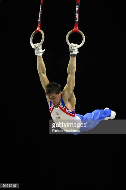 Daniel Keatings of Great Britain competes on the rings during the Men's All Round Final on the third day of the Artistic Gymnastics World...