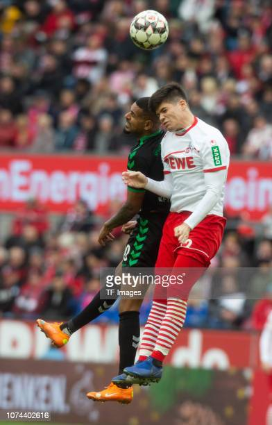 Daniel KeitaRuel of SpVgg Greuther Fuerth Jorge Mere of 1 FC Koeln battle for the ball during the Second Bundesliga match between 1 FC Koeln and...