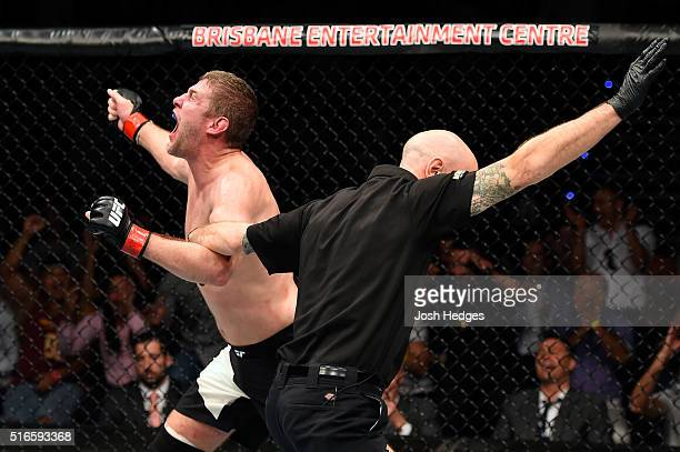 Daniel Kelly of Australia celebrates after defeating Antonio Carlos Junior of Brazil by TKO in their middleweight bout during the UFC Fight Night...