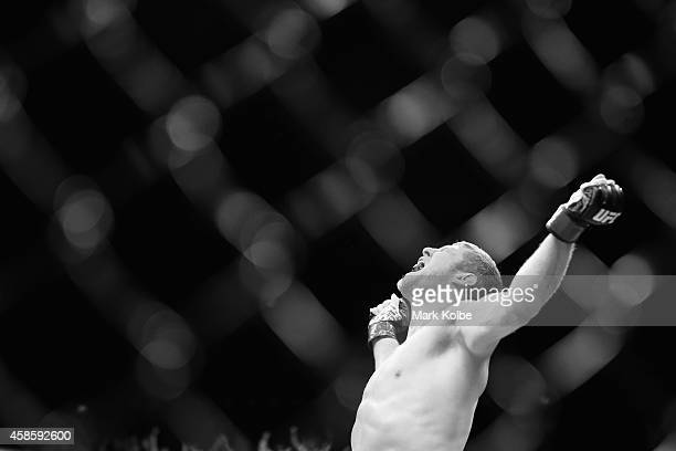 Daniel Kelly of Australia celebrates victory over Zachrich in their middleweight fight during the UFC Fight Night 55 event at Allphones Arena on...