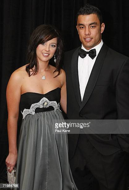Daniel Kerr of the West Coast Eagles and his partner Melanie Cousins arrive for the West Coast Eagles 2006 AFL Brownlow Medal Dinner at the Burswood...