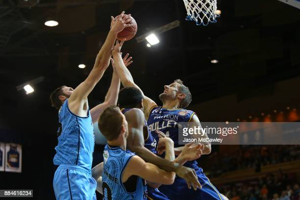 Daniel Kickert of the Bullets competes for the ball during the round eight NBL match between the Brisbane Bullets and the New Zealand Breakers at...