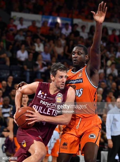 Daniel Kickert of the Bullets drives to the basket during the round 13 NBL match between the Cairns Taipans and the Brisbane Bullets at the Cairns...