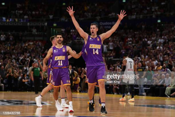 Daniel Kickert of the Kings celebrates victory after game one of the NBL Semi Final Series between the Sydney Kings and Melbourne United at Qudos...