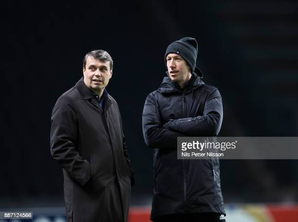 Daniel Kindberg chairman of Ostersunds FK and Graham Potter head coach of Ostersunds FK during training ahead of the UEFA Europa League group J match...