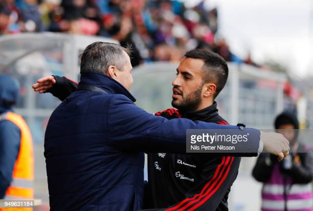 Daniel Kindberg President of Ostersunds FK and Brwa Nouri of Ostersunds FK during the Allsvenskan match between Ostersunds FK and Orebro SK at...