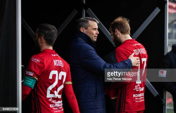Daniel Kindberg President of Ostersunds FK together with Brwa Nouri and Curtis Edwards of Ostersunds FK after the Allsvenskan match between...