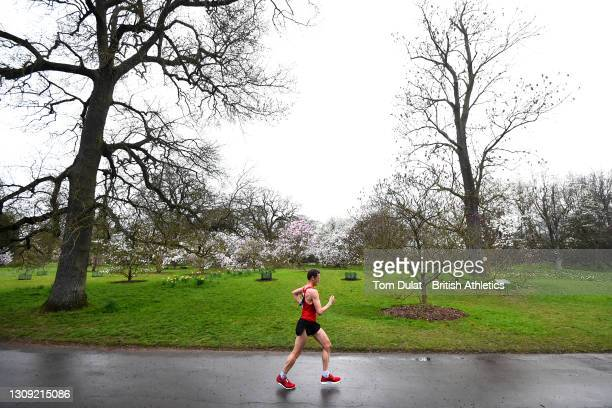 Daniel King competes in the mens 20km walking race during the Muller British Athletics Marathon and 20km Walk Trials at Kew Gardens on March 26, 2021...
