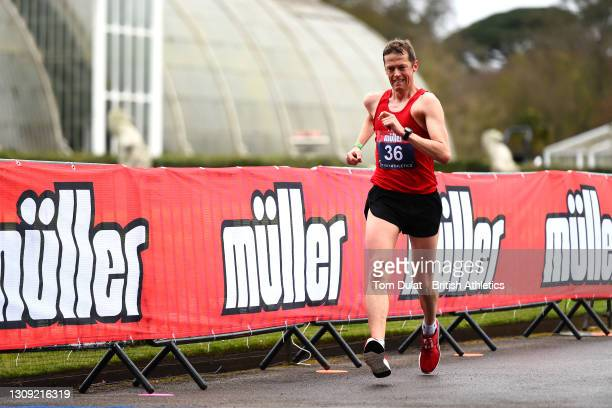 Daniel king in action as he competes in the mens 20km walking race during the Muller British Athletics Marathon and 20km Walk Trials at Kew Gardens...
