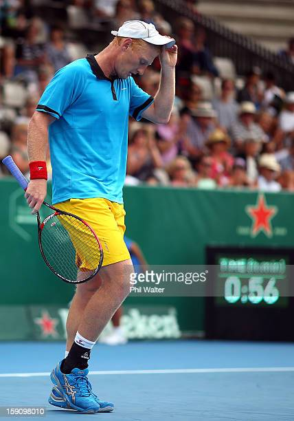 Daniel King-Turner of New Zealand leaves the court following his first round match against Jesse Levine of Canada during day two of the Heineken Open...