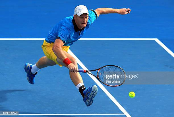 Daniel King-Turner of New Zealand plays a backhand in his first round match against Jesse Levine of Canada during day two of the Heineken Open at the...