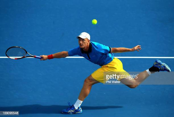 Daniel King-Turner of New Zealand plays a forehand in his first round match against Jesse Levine of Canada during day two of the Heineken Open at the...