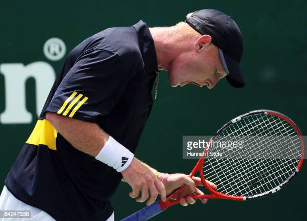 Daniel King-Turner of New Zealand shows his frustration during his first round match against Sam Querrey of the USA during day one of the Heineken...