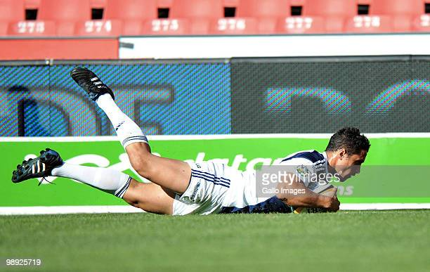 Daniel Kirkpatrick goes over for a try during the Super 14 match between Auto and General Lions and Blues at Coca Cola Park on May 08 2010 in...