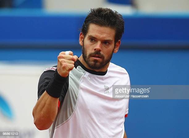 Daniel Koellerer of Austria reacts during his match against Philipp Petzschner of Germany at day 4 of the BMW Open at the Iphitos tennis club on May...