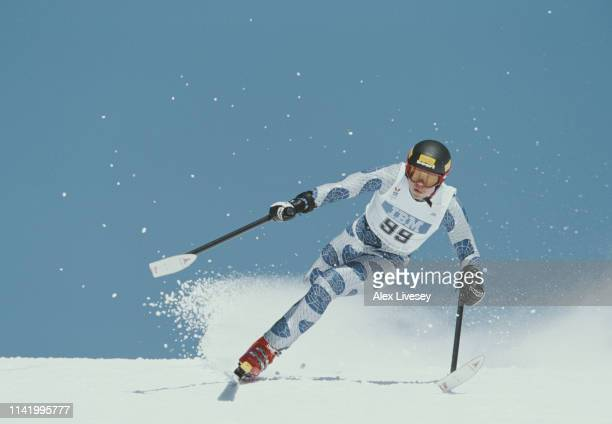 Daniel Kosick of the United States skiing in the Men's LW2 Class Downhill competition on 5th March 1998 during the VII Paralympic Winter Games at...