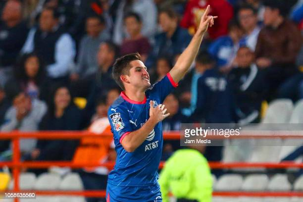 Daniel Lajud of Monterrey celebrates after scoring the third goal of his team during a Semi Final match between Pachuca and Monterrey as part of Copa...