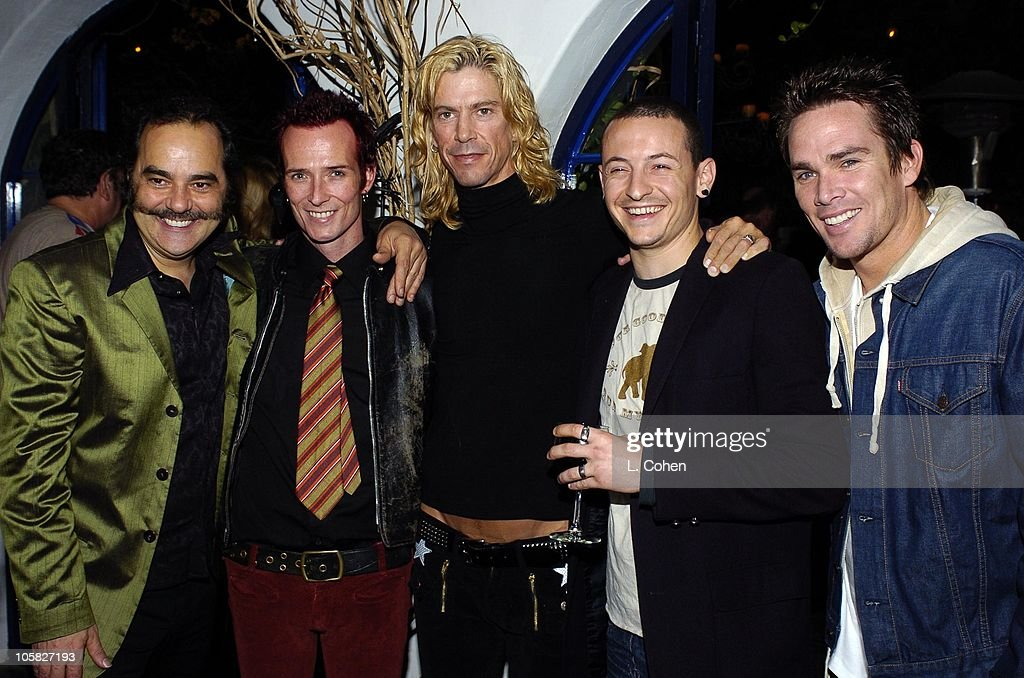Daniel Lanois, Scott Weiland, Duff McKagan, Chester Bennington and Mark McGrath. Scott Weiland of Velvet Revolver and guests celebrate his birthday at a surprise party thrown by wife Mary Weiland The party was held in the midst of the band's U.S. concert tour in support of their platinum Contraband album.