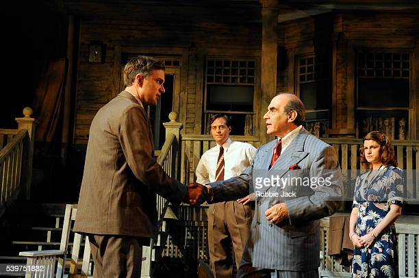 Daniel Lapaine as George Deever Stephen Campbell Moore as Chris Keller David Suchet as Joe Keller and Jemima Rooper as Ann Deever in the production...