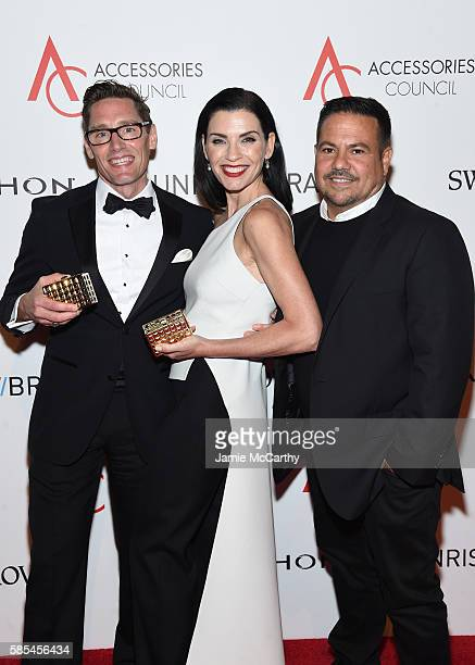 Daniel Lawson Julianna Margulies and Narciso Rodriguez pose with awards during the Accessories Council 20th Anniversary celebration of the ACE awards...