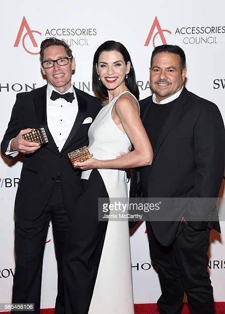 Daniel Lawson Julianna Margulies and Narciso Rodriguez poses with awards during the Accessories Council 20th Anniversary celebration of the ACE...