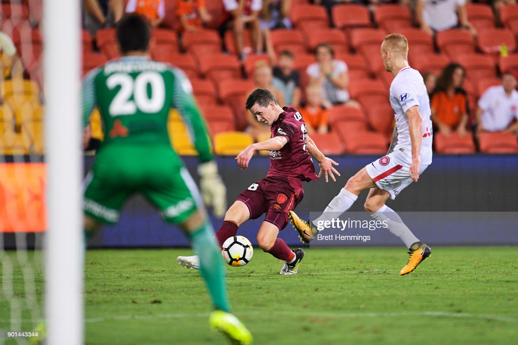 Daniel Leck of Brisbane shoots for goal during the round 14 A-League match between the Brisbane Roar and the Western Sydney Wanderers at Suncorp Stadium on January 5, 2018 in Brisbane, Australia.