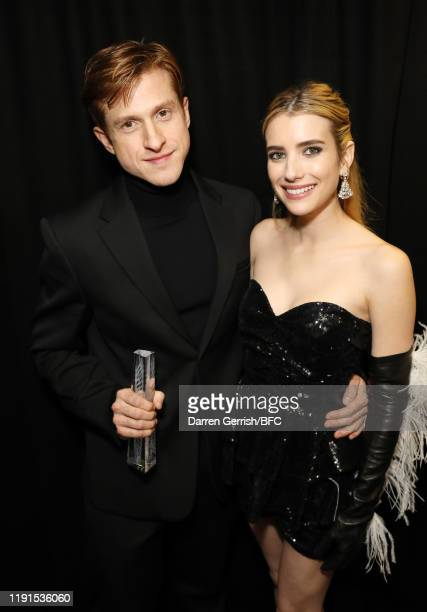 Daniel Lee and Emma Roberts backstage stage during The Fashion Awards 2019 held at Royal Albert Hall on December 02, 2019 in London, England.