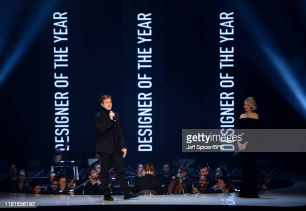 Daniel Lee and Naomi Watts on stage during The Fashion Awards 2019 held at Royal Albert Hall on December 02, 2019 in London, England.